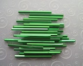 Bugle Beads, Green, Emerald,  Silver Lined, Square Hole, 30mm, 34 Pieces
