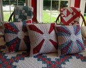 Three Primitive Americana Vintage Hand Made Red White Blue Country Pillows - Birthday, Christmas, Patriotic gifts
