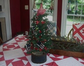 Primitive Patriotic Holiday Christmas Tree Faux Furskin Bucket Holder Rice Lights Star Garland Flag Ornies