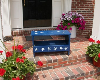 HTF Vintage OLD Antique Wood Work Bench Treasure HP Americana Blue and White Stars - No Shipping / Pick Up Only!