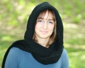 CLEARANCE SALE, 75% OFF, Black Hooded Scarf, Crochet Scoodie