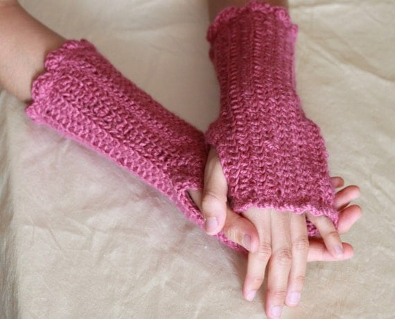 CLEARANCE SALE, 75% OFF, Wool-Blend Fingerless Gloves, Crochet Arm-Warmers in Rapsberry Pink, Soft and Cozy