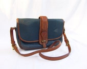 Vintage Dooney & Bourke Blue and British Tan Equestrian Bag