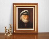 Vintage Original Ship Captain Painting - Art, Mid Century, Modern, Portrait