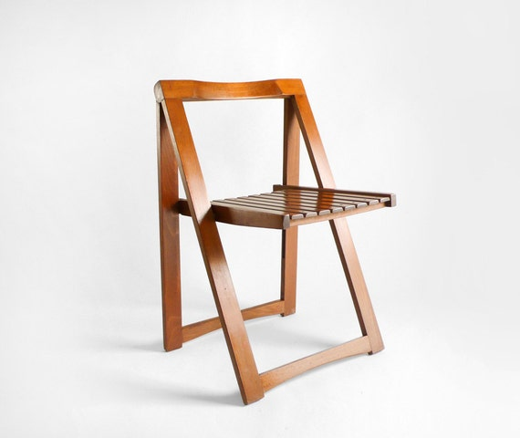 items similar to mid century wood folding chair on etsy. Black Bedroom Furniture Sets. Home Design Ideas
