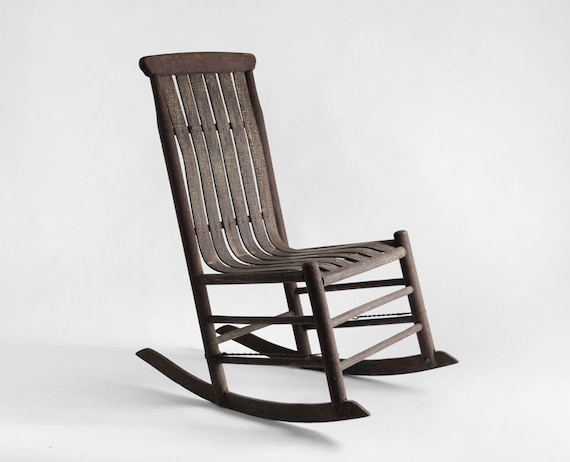 Antique Early Century Rocker - Rocking Chair, Mid Century, Modern, Wood, Rustic - Hindsvik