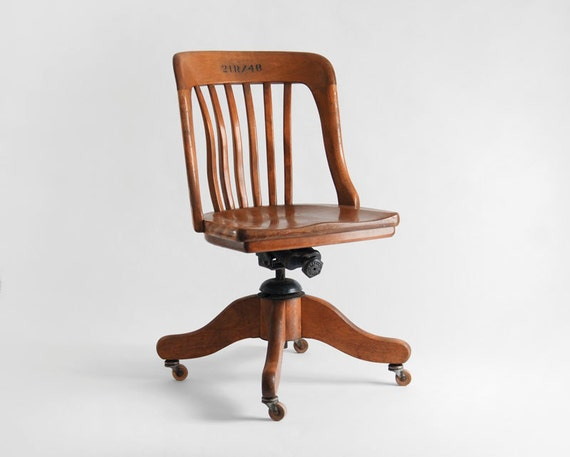 Items similar to vintage oak office chair wood mid for Antique desk chair