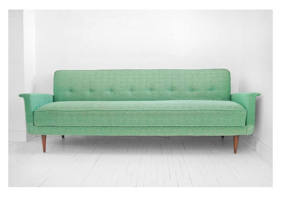 Items similar to on hold until april 26th vintage sea for Mint green sectional sofa