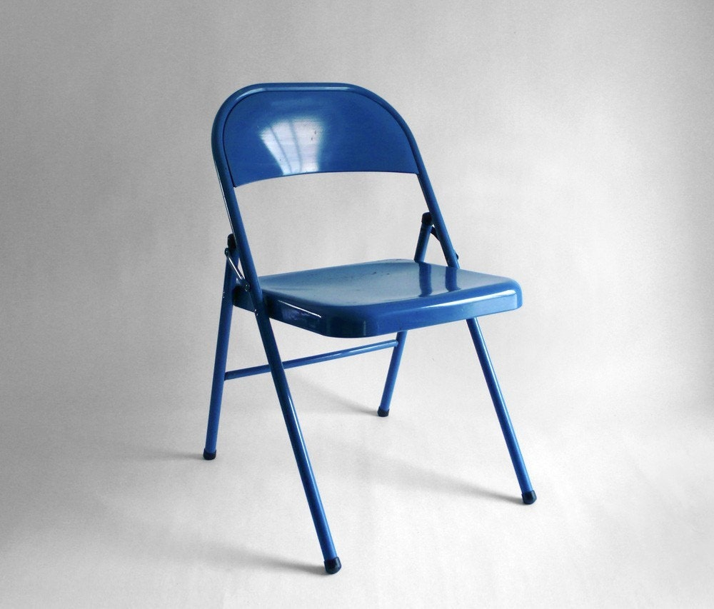 Items similar to Reserved for Alex Blue Metal Folding Chair on Etsy