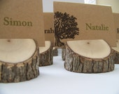 Rustic Wood Tree Place Card Holders Set of 6 Eclectic Mix