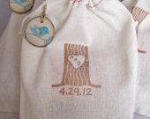 Organic Coffee Wedding Favor  Rustic Tree Stump Custom Cotton Bags