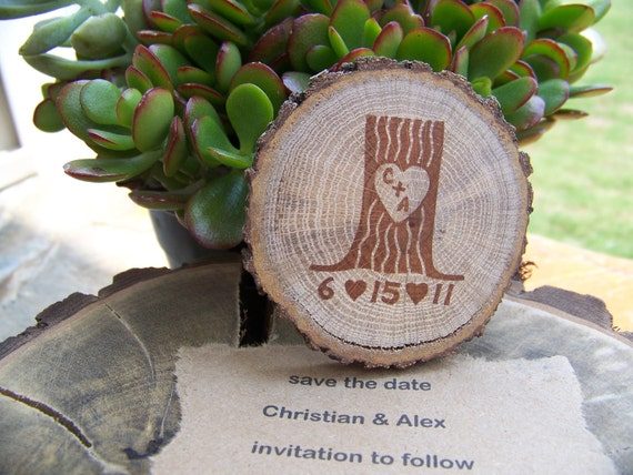 Rustic Save The Date Tree Stump Personsalized Magnets