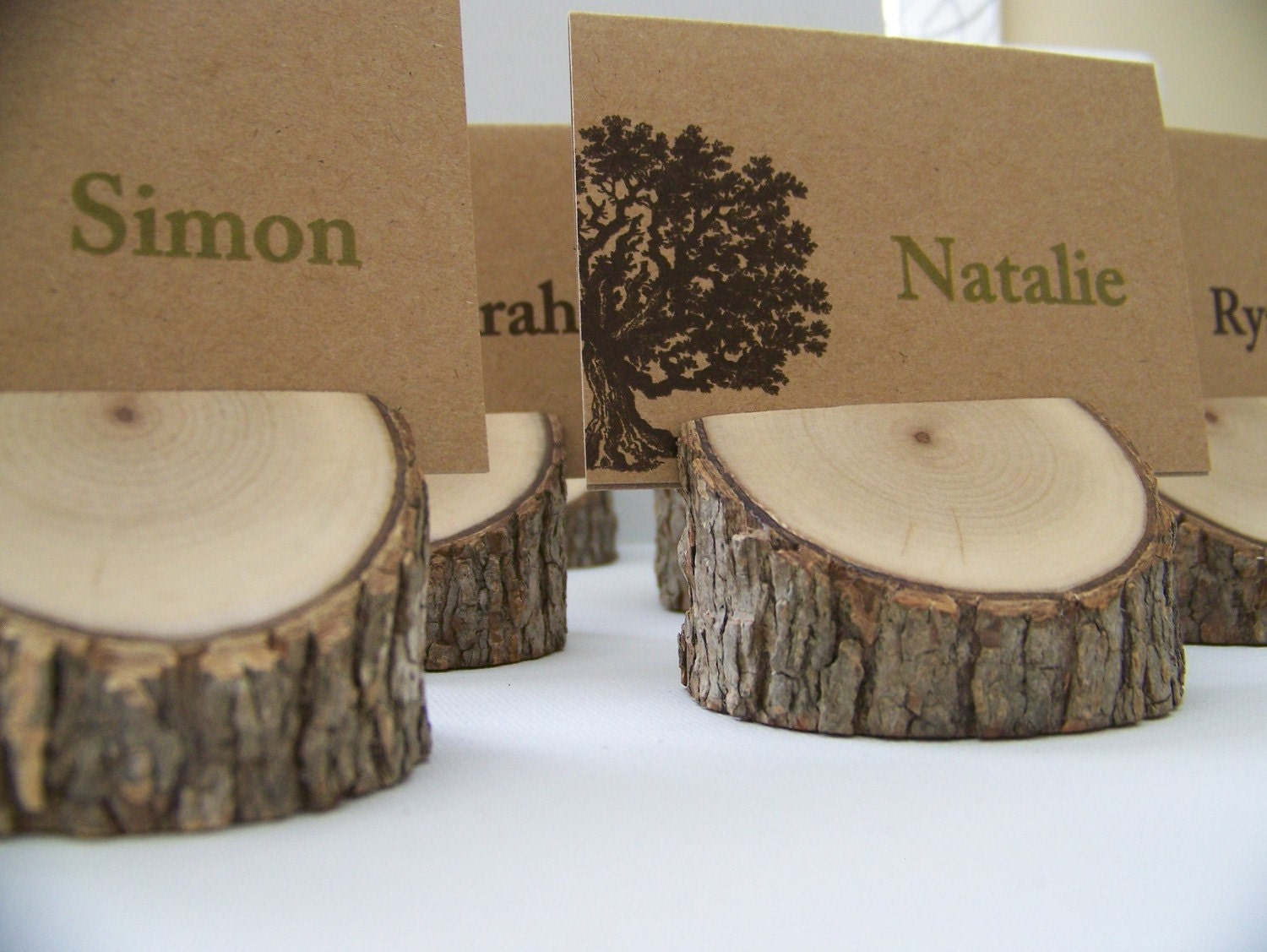 rustic wood tree place card holders set of 10 eclectic mix On place settings name card holders