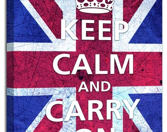 Keep Calm and Carry on Union Jack flag canvas wall art picture typography
