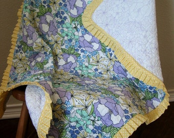 Baby Quilt Purple and Blue Flowers