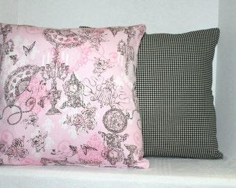 Nursery Decorative Pillow Pink White Black Victorian 16 x 16