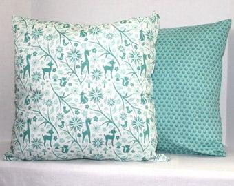 Nursery Pillow Cover 16 x 16 Woodland Tails by Riley Blake Aqua Blue