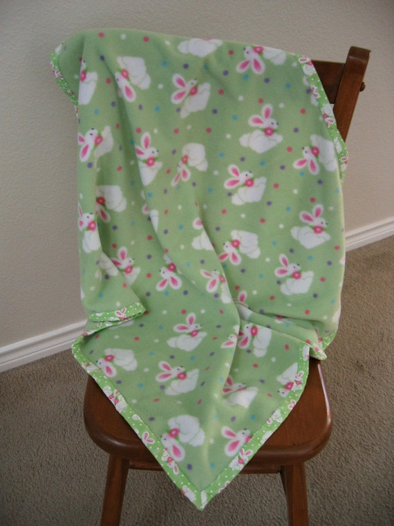 Lightweight Fleece Bunny Baby Blanket