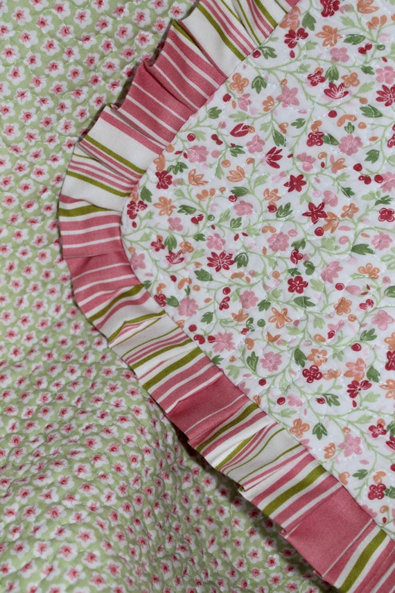 Baby Girl Quilt Small Pink and Green Floral Striped Ruffle