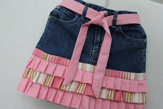 18 Months Upcycled Jeans Toddler Skirt With Pink Ruffles