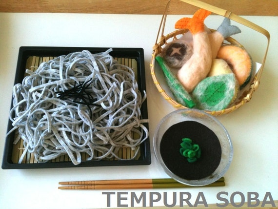 ETSY Felt food  Japanese  Tempura Soba set  ( Buckwheat  Noodle )
