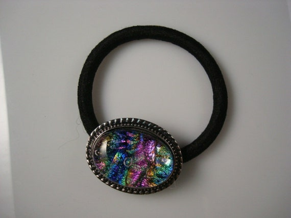 Fused Dichroic Glass Ponytail Holder Hair Tie