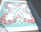 1950s Print Kitchen Table Cloth - PINK ROSES On AQUA - VINTAGETABLECLOTHS