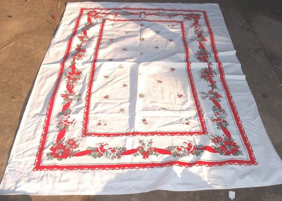 CHRISTMAS TABLE CLOTH - Santa and Reindeer Garland - Extra Large