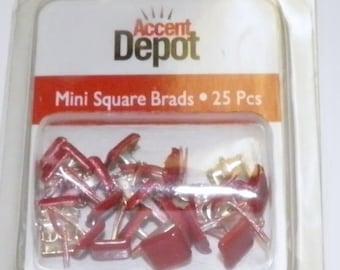 Ruby Red Mini Square Brads