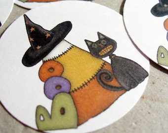 Envelope Seals or Stickers Candy Corn Cat Halloween - SES204