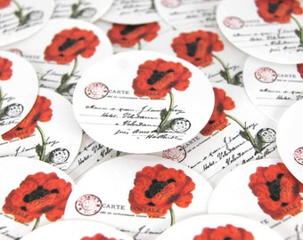 Stickers Envelope Seals Red Poppy SES75