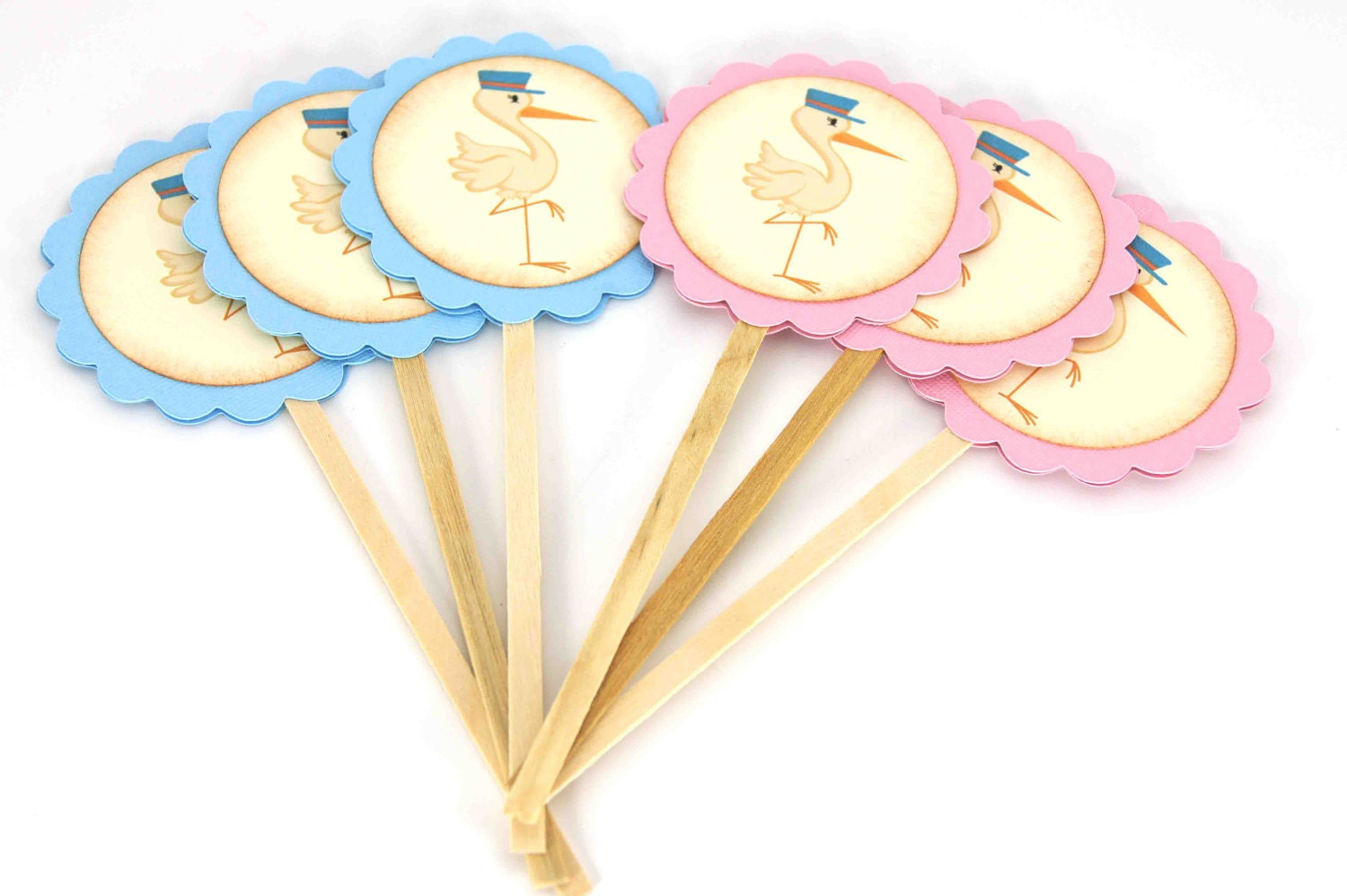 Items similar to stork cupcake toppers food picks baby for Baby shower cupcake picks decoration