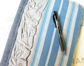 Blue Striped Upcycled Journal - Refillable