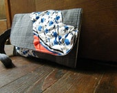 Upcycled Grey Ruffle Clutch