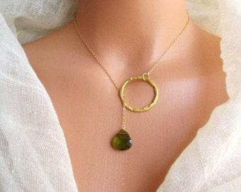 Lariat Ceira green/olivine lariat briolette Swarovski necklace