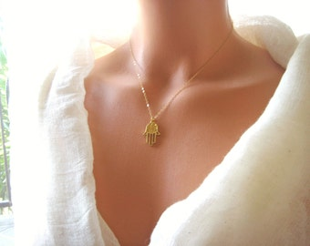 Gold plated Fatima, Hamsa hand  necklace  series 1 (protection against evil eye)