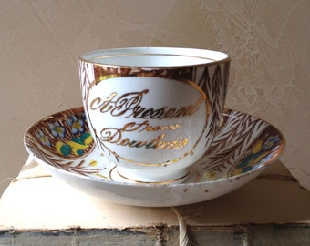 "SALE Victorian Era Handpainted Teacup ""A Present from Dowlorie"""