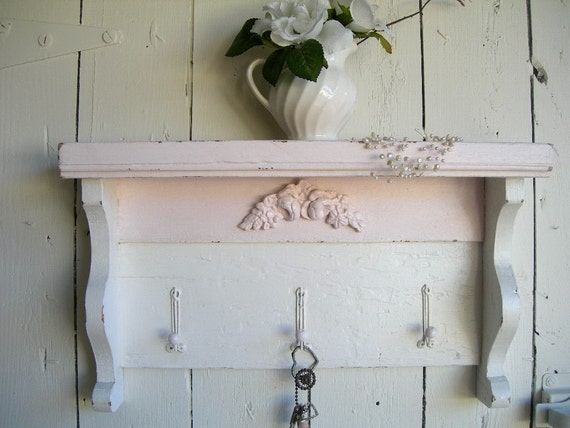 Romantic Chic Pink and White Old Wood Shelf....Hooks
