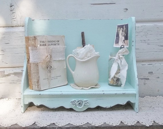 Chippy Old Wood Shelf....French Cottage Aqua Book Bench