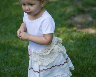 Hankie Babies vintage tablecloth dress -- Lucinda style