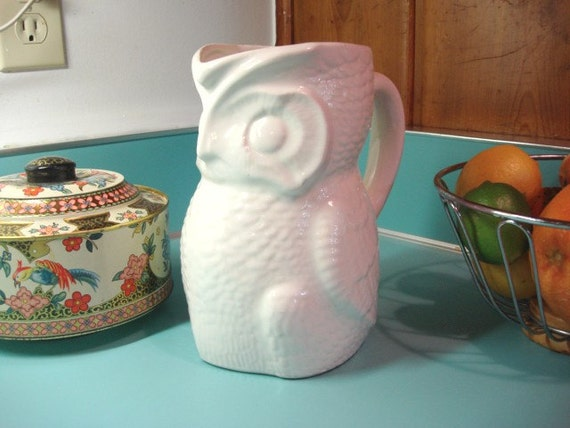 Vintage White Ceramic Owl Pitcher Or Vase