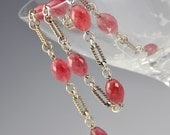 Quartz Necklace Red Silver Watermelon Raspberry Stone Link Oval Natural Valentine's Vintage - W2253