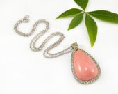 Coral Rhinestone Necklace Teardrop Salmon Pink Silver Drop Signed Avon 1970s Vintage - 2508