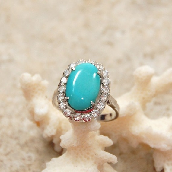 Vintage Turquoise and Rhinestone Ring