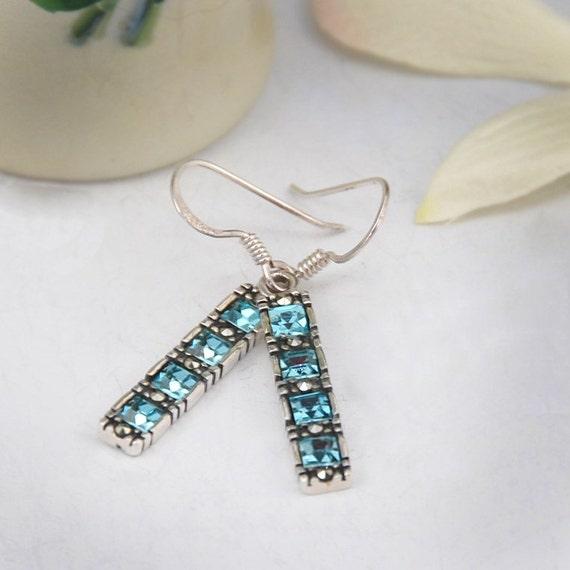 Vintage Aquamarine and Marcasite Sterling Earrings
