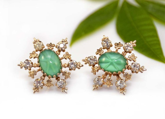 Rhinestone Glass Earrings Green Star Sapphire Snowflake Gold Snow Christmas Winter Screw Back Vintage - 2453