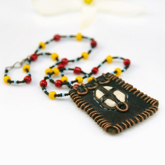 Tribal Leather Necklace Stone Red Yellow Blue Beaded African Vintage - 2066