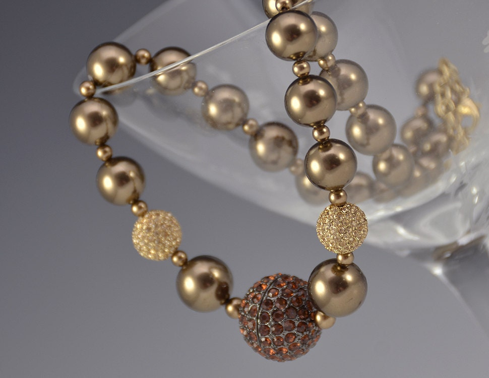 Carolee Pearl Necklace Brown Crystal Amber Sable By