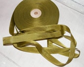 Vintage 1930's-40's French Woven Ribbon -Milliners Stock- 5/8 inch Dusty Olive