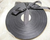 Vintage French 1930's-40's Woven Ribbon -Milliners Stock- 5/8 inch Dark Slate Grey